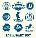 Vector Set: Its A Baby Boy Labels. Collection of retro style Its a Baby Boy Labels and Icons Royalty Free Stock Photos