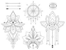 Vector set of Sacred geometric and natural symbols on white background. Abstract mystic signs collection. Black linear shapes. For you design or modern magic stock illustration