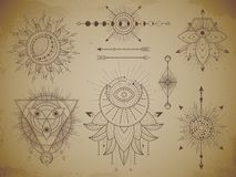 Vector set of Sacred geometric symbols and figures on old paper grunge background. Abstract mystic signs collection. Drawn in lines. For you design: print royalty free illustration