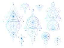 Vector set of Sacred geometric symbols with moon, eye, arrows, dreamcatcher on white background. Abstract mystic signs collection. Colored linear shapes. For vector illustration