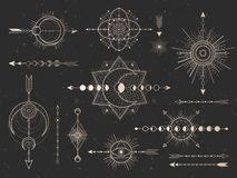 Vector set of Sacred symbols arrows, moon and eye on black grunge background. Gold abstract mystic signs collection. Drawn in lines. For you design and magic royalty free illustration