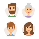 Vector set sad emoticons face of people fear shock surprise avatars characters illustration. Vector set sad emoticons face of people fear shock surprise avatars stock illustration