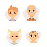 Vector set sad emoticons face of people fear shock surprise avatars characters illustration. Vector set sad emoticons face of people fear shock surprise avatars Royalty Free Stock Photos