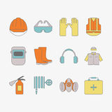 Vector set of safety work icons, including tools. Modern line style labels of safety and protection elements Stock Image