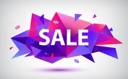 Vector set of sale faceted geometric banners, posters, cards. 3d abstract discount shapes. royalty free illustration