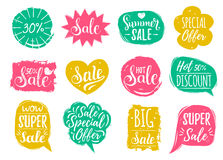 Vector set of Sale lettering in comic speech bubbles. Discount cards collection of Special Offer etc. royalty free illustration