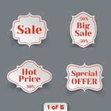 Vector Set of Sale Paper Retro Labels. Royalty Free Stock Images