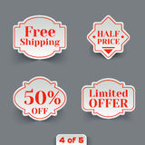 Vector Set of Sale Paper Retro Labels. Royalty Free Stock Photo