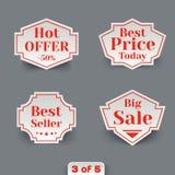 Vector Set of Sale Paper Retro Labels. Stock Photo