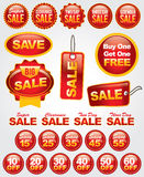 Vector Set of Sale and Promotion Labels and Badges. Bright and bold set of numerous sale badges perfect for retail advertising, marketing, and promotion stock illustration