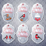 Vector set of sale tags in grey color. Royalty Free Stock Photo