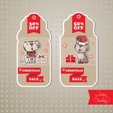 Vector set of sale tags. Includes cat, gift,  ribbon. Royalty Free Stock Images