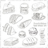 Vector Set of sandwiches. Club sandwich cheeseburger hamburger deli wrap roll taco baguette bagel toast. Illustration for menus, recipes and packages product Royalty Free Stock Photos
