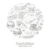 Vector Set of sandwiches. Club sandwich cheeseburger hamburger deli wrap roll taco baguette bagel toast. Illustration for menus, recipes and packages product Royalty Free Stock Photo