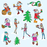 Vector set of Santa Claus and Snow Maiden. Colorful sketch of event creatures Stock Photos
