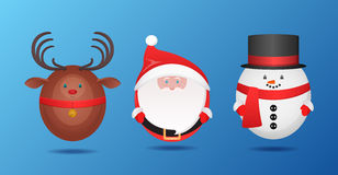 Vector set  Santa Claus,  snowman and reindeer Royalty Free Stock Photos