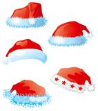 Vector set of santa hats. Five santa caps isolated on white background. You can dress this cap on any -  head, letter or logo Stock Images