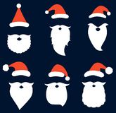 Vector set with Santa hats, beards and mustaches vector illustration