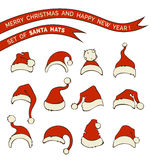 Vector set of Santa hats. Royalty Free Stock Photography