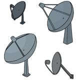Vector set of satellite dish. Hand drawn cartoon, doodle illustration Stock Image