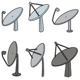 Vector set of satellite dish. Hand drawn cartoon, doodle illustration Royalty Free Stock Image
