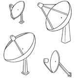 Vector set of satellite dish. Hand drawn cartoon, doodle illustration Royalty Free Stock Photo