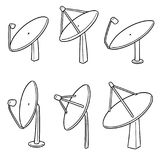 Vector set of satellite dish. Hand drawn cartoon, doodle illustration Stock Photos