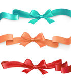 Vector set of satin ribbons with bows in different colors Stock Image