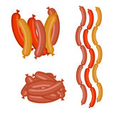 Vector set sausages in colors Royalty Free Stock Images