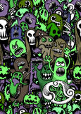 Vector set of scary,Funny colorful characters with different emo. Tions.seamless background doodle.Vector illustration Royalty Free Stock Photo