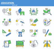 Vector set of School and college education icons in thin line style. Website UI and mobile web app icon. Outline design. Illustration stock illustration