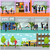 Vector set of school concept banners. Building interior, pupils studying in classroom, teachers Royalty Free Stock Photo