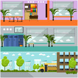 Vector set of school concept banners. Interior, classroom, yard, building and bus Stock Images
