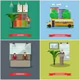 Vector set of school concept design elements in flat style Royalty Free Stock Photography