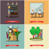 Vector set of school concept design elements in flat style Stock Images