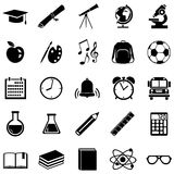 Vector Set of 25  School Icons. Vector Set of 25 Black School Icons Stock Images