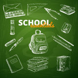 Vector set of school items on a chalkboard Royalty Free Stock Photography