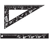 Vector set of school rulers in flat style. Vector set of black school measuring rulers  on white background. Flat style design Royalty Free Stock Image