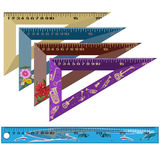 Vector set of school rulers in flat style. Vector set of color school measuring rulers  on white background. Flat style design Stock Images