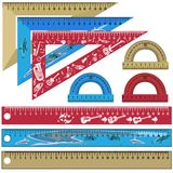 Vector set of school rulers and protractors in flat style. Vector set of school measuring rulers and protractors isolated on white background. Flat style design stock illustration