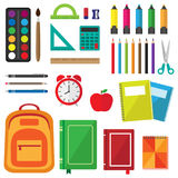 Vector set of school supplies. Back to school background with stationery Stock Photos
