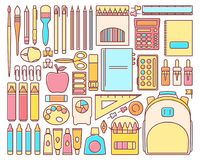 Vector set of school supplies in modern flat linear style Royalty Free Stock Photos