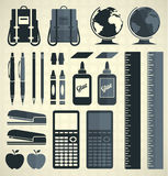 Vector Set: School Supplies Silhouettes and Icons Royalty Free Stock Image