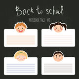 Vector set of school tags for notebooks with chlidren smiles Royalty Free Stock Photography