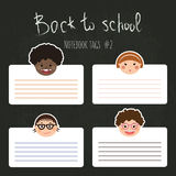 Vector set of school tags for notebooks with chlidren smiles Stock Images