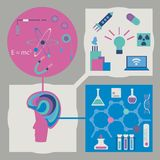 Vector set for science. Vector set of science infographics with mockup of brain connected with symbols of physics, chymistry and achievements of the mankind Royalty Free Stock Photography