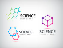 Vector set of science logos, biology, physics, chemistry logo. Laboratory identity Royalty Free Stock Image