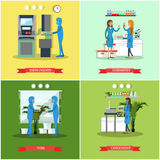 Vector set of scientific research laboratories flat style posters, banners Royalty Free Stock Photo