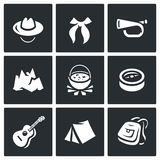 Vector Set of Scouting Icons. Hat, Tie, Whistle, Mountain, Boiler, Compass, Guitar, Tent, Backpack. Royalty Free Stock Images