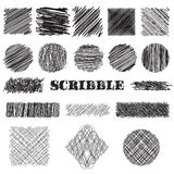 Vector set of scribble brushes. Collection of ink lines, set of hand drawn textures. Scribbles of pen, hatching, scratch stock illustration